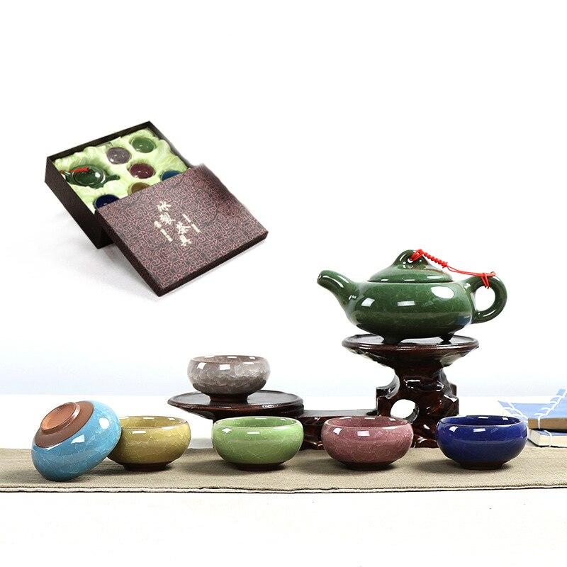 طقم شاي كونغ فو على الطراز الصيني ، إبريق شاي سيراميك ، طقم بورسلين ، وعاء شاي ، شحن مجاني ، 7 ألوان
