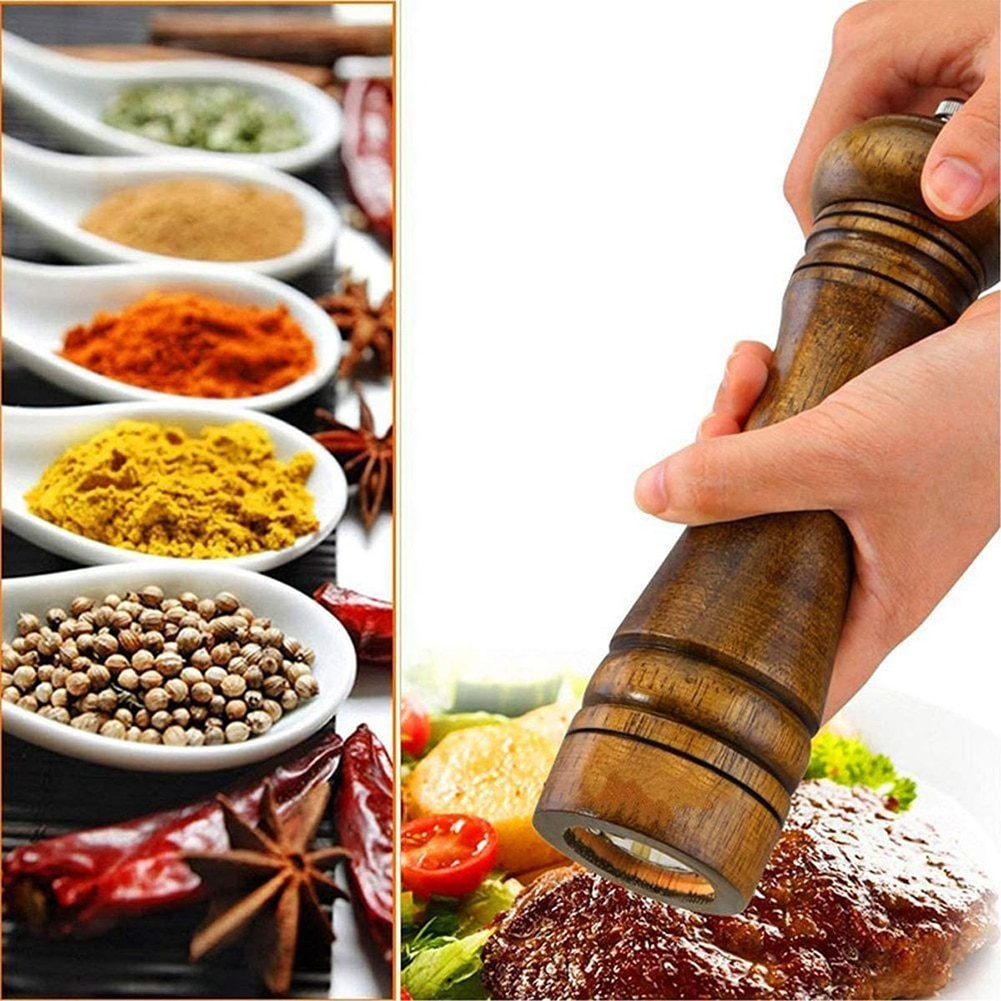 Мельница для соли и перца из твердой древесины, мельница для специй и перца с прочной регулируемой Керамической мельницей, керамические ручные инструменты для готовки