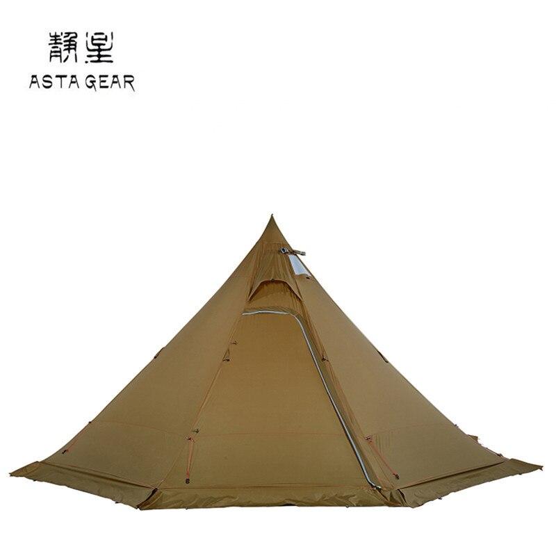ASTA والعتاد Bushcraft الهرم خيمة خفيفة الوزن 4-5 الناس مع تنورة الثلوج الشتاء موقد الخشب 20D النايلون التخييم خيمة المسار 5