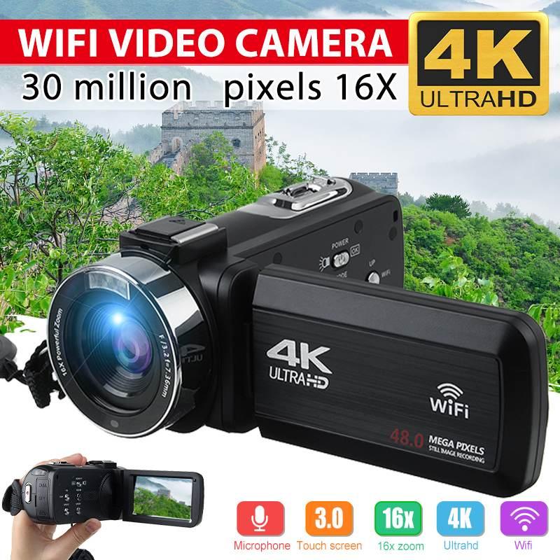 4K Video Camera Ultra HD 30MP WiFi DV Camcorder Digital Video Camera 270 Degree Rotation Touch Scree