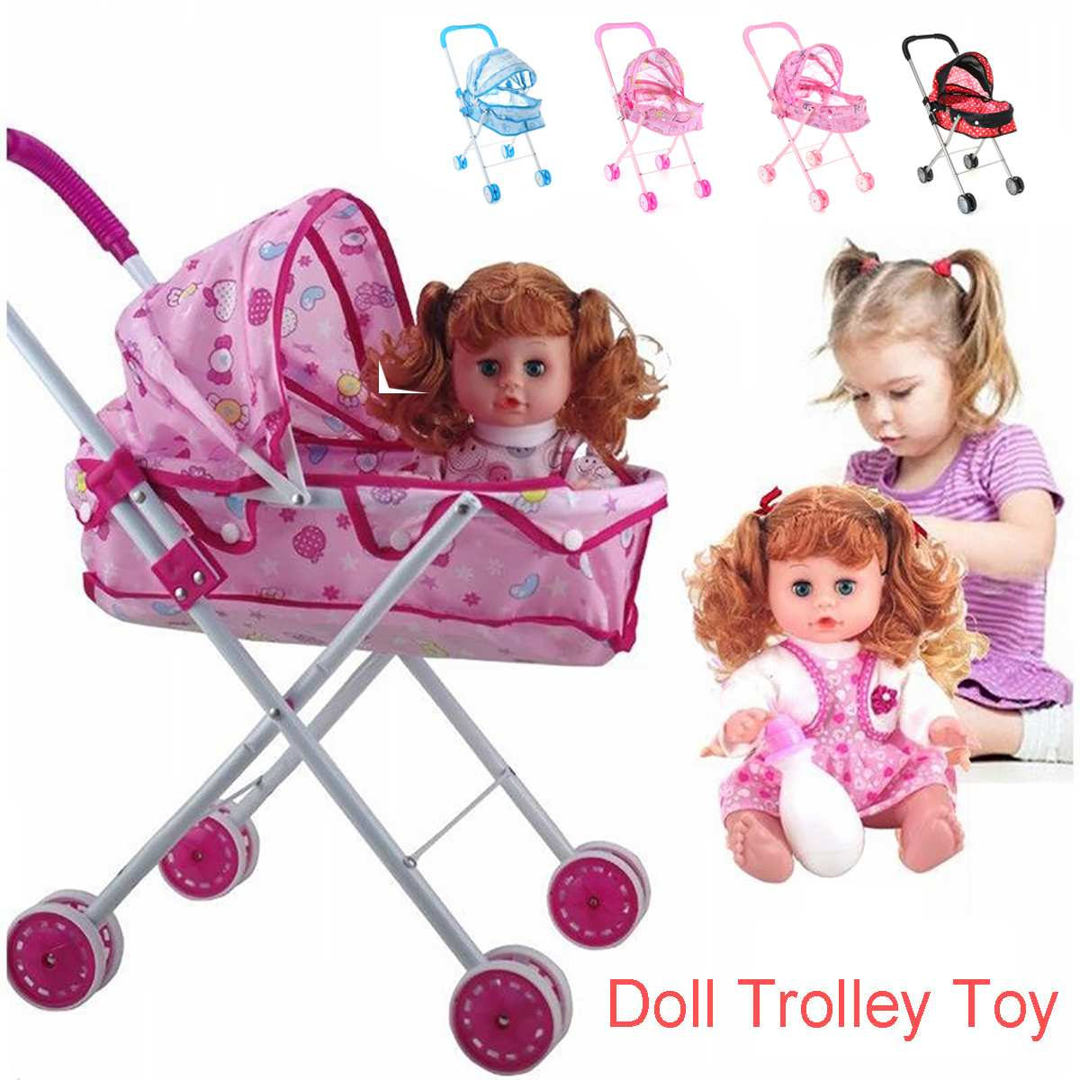 Baby Stroller Infant Carriage Trolley Nursery Toy For Simulation Doll Accessory Girls Gift For Girls