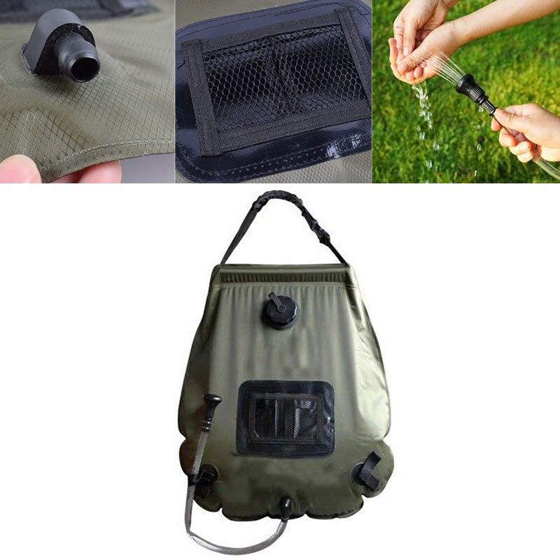 Bolsa de agua caliente al aire libre de alta capacidad portátil Solar ducha bolsillo conveniente Durable Camping caza ducha bolsa de la piscina Accesorios