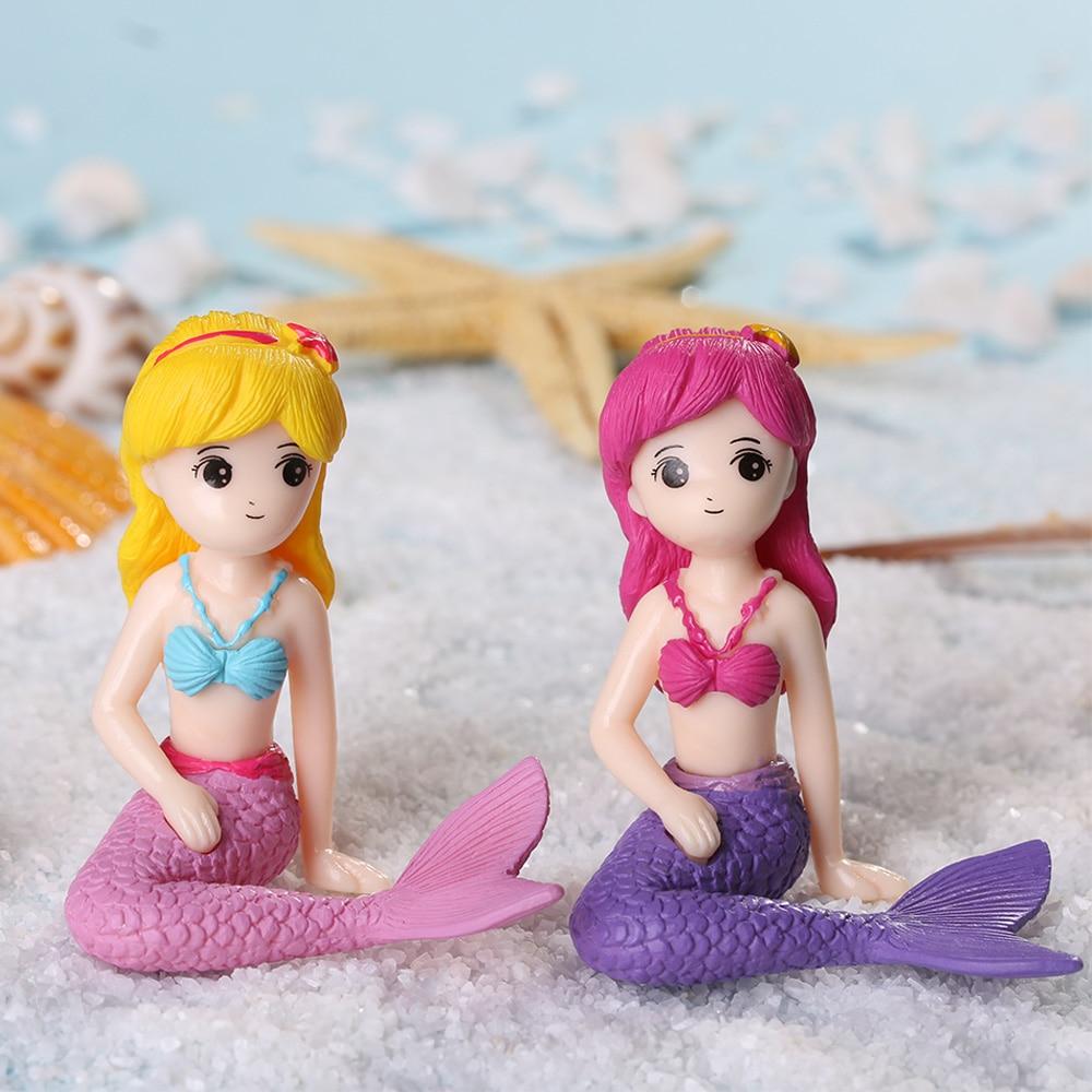 Figuras de sirena para casa de muñecas, ornamento de Micro juguete de paisaje, pastel, hadas, jardín, juguetes de muñecas, princesas, regalos para niñas, decoración del hogar 1 unidad