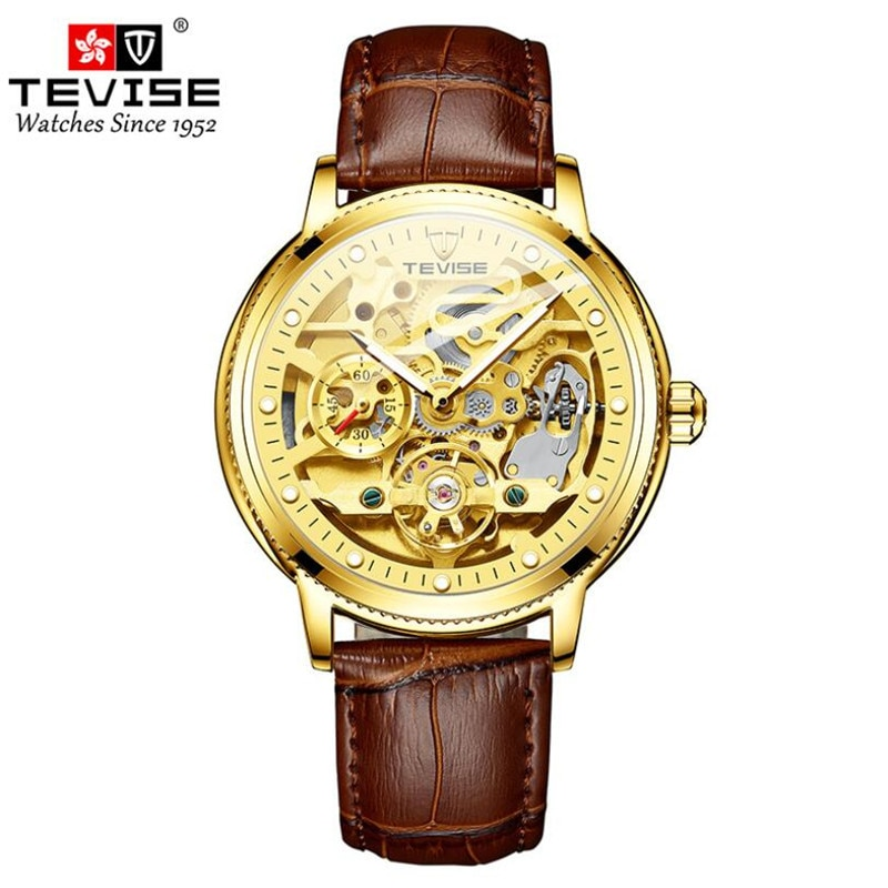 TEVISE Brand Men Watches Automatic Mechanical Skeleton Watch Tourbillon Sport Clock Leather Casual B