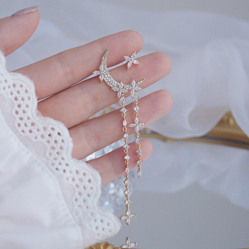 Luxury 14K Real Gold Moon Cross Flower Zircon Asymmetric Fairy Delicate Stud Earrings for Women Cubic Zircon ZC Earrings