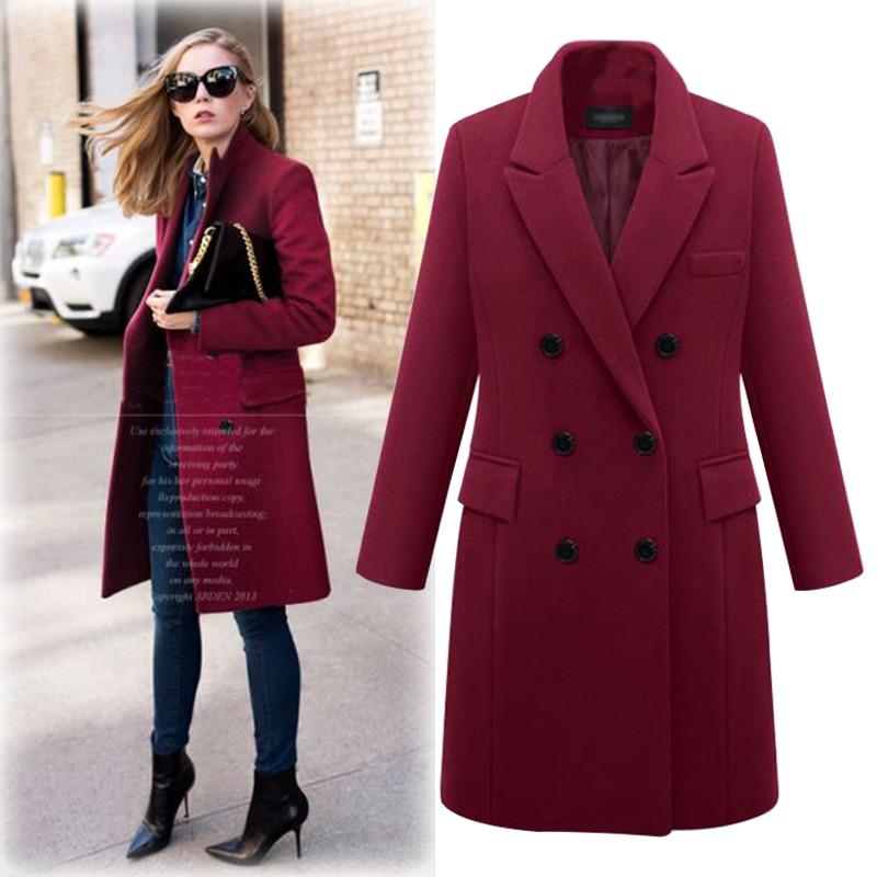Abrigo de invierno 2020, abrigo largo recto para mujer, chaqueta de mezcla de lana, elegante chaqueta negra burdeos, abrigo de oficina para mujer, abrigo MK-343
