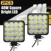 2pcs 48w square bright led spotlight work light car suv truck driving fog lamp for car repairing camping hiking backpacking
