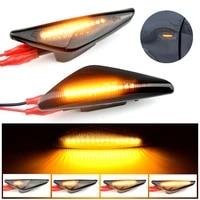 2pcs led dynamic turn signal light fender front side marker lamp for bmw x3 f25 x5 e70 x6 e71 e72 replacement smoke lens