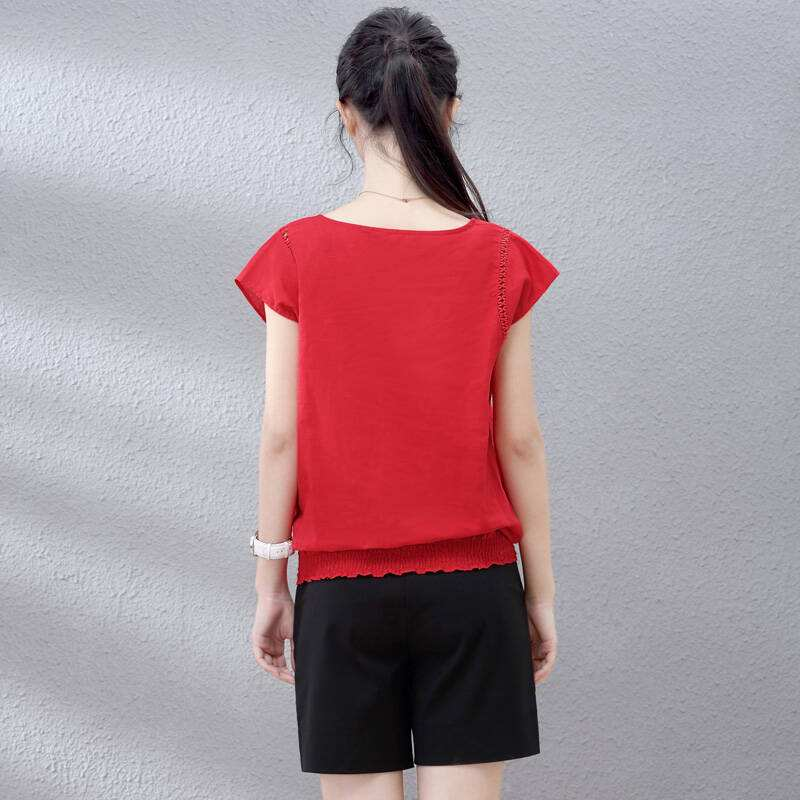 قميص حريمي أحمر 2020 قميص قطن 8 أنماط بأكمام قصيرة
