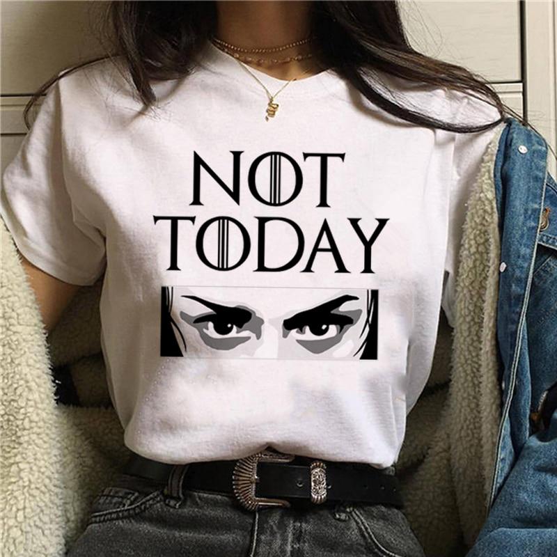 Mulheres Carta de Impressão Camiseta Gritante Arya Não não Hoje Hoje Não Satanás Harajuku T-shirt Gráfico Ullzang Gato Bonito Top Tees Feminino