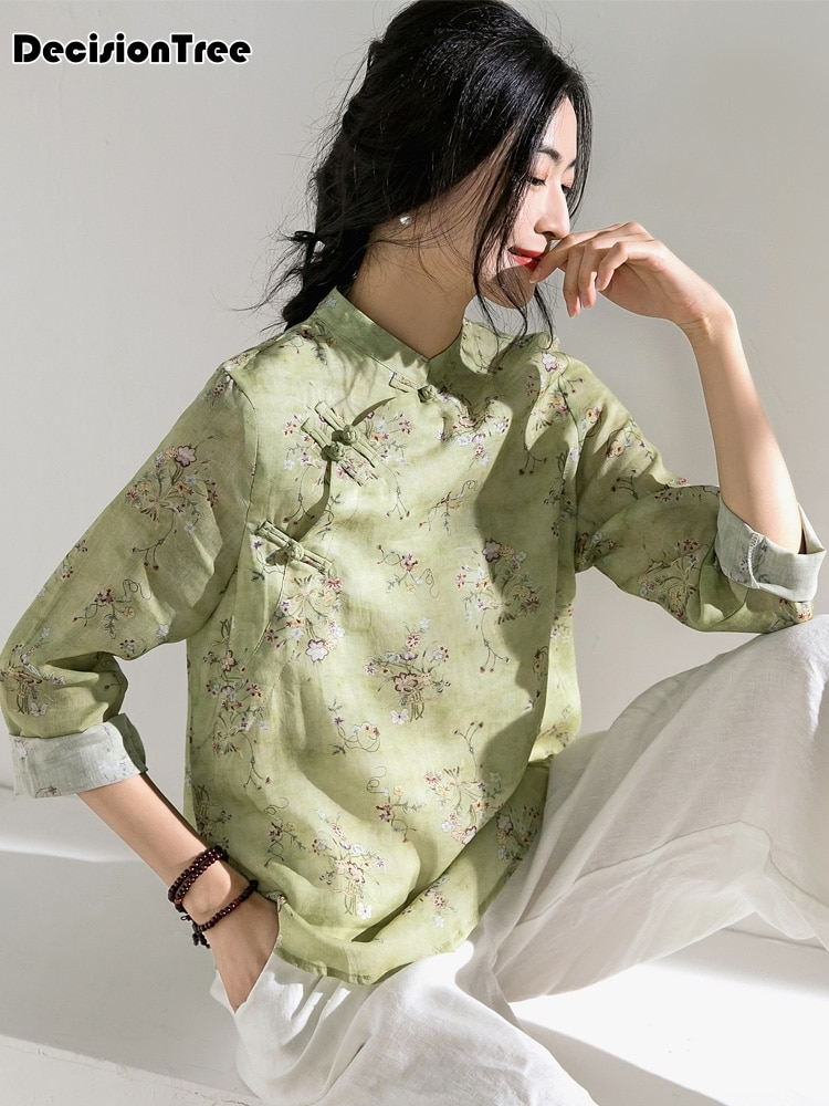 2020, ropa tradicional china para mujer, camisas elegantes, cheongsam chino antiguo, blusa cheongsam, tops con estampado de flores, blusa hanfu
