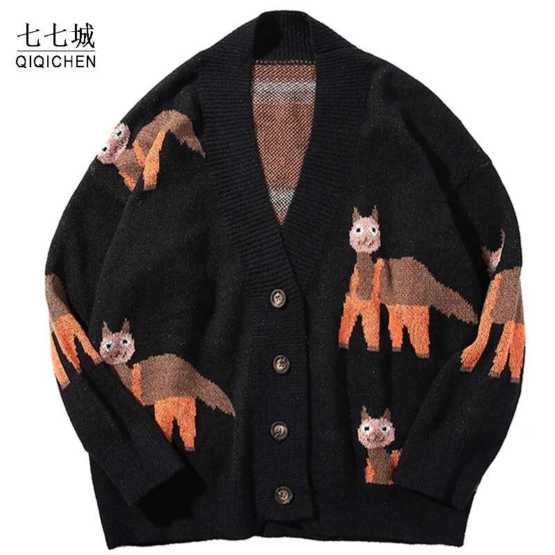 В стиле «хип-хоп» детский вязаный свитер Для мужчин Винтаж рисунок альпака свитер Харадзюку негабаритных уличная свободные Кардиган-пуловер Для мужчин Для женщин Для мужчин