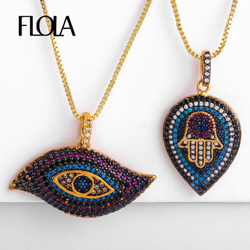 FLOLA, Collar malvado negro de ojo Punk, Collar con colgante de mano de Fátima gótico para mujer, Collar de joyería de ojo turco nkep73