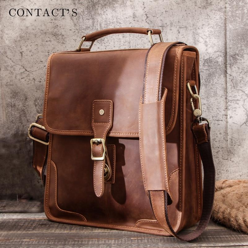ريترو كريزي هورس جلد الرجال حقيبة كتف متعددة الوظائف الرجال عادية حقيبة ساعي سعة كبيرة باد حقيبة حاسوب