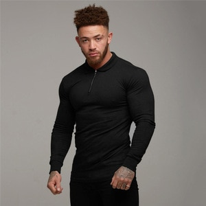 Muscle men's sports polo shirts polo shirts men's autumn and winter long sleeve lapel fitness polo shirts