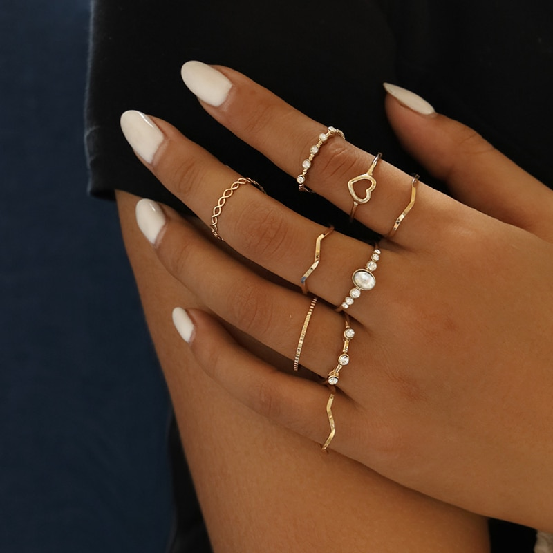 Yobest Bohemian Vintage Gold Crescent Geometric Joint Ring Set for Women Crystal Personality Design Party Jewelry Gift