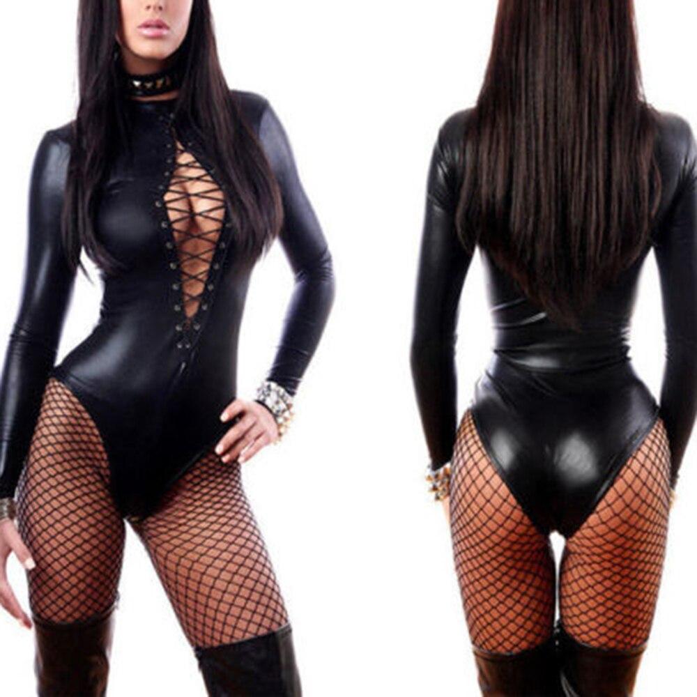 KLV porno Sexy ropa interior Mujer Lencería erótica cuero látex Club de baile Babydoll traje femenino negro ajustado Sexy mono