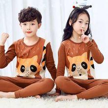 Children Pajamas Set Kids Long-sleeved 2-piece Cartoon Pijamas 3-12Y Boys Girls Cartoon Sleepwear Suit Pyjamas Kids Baby Clothes