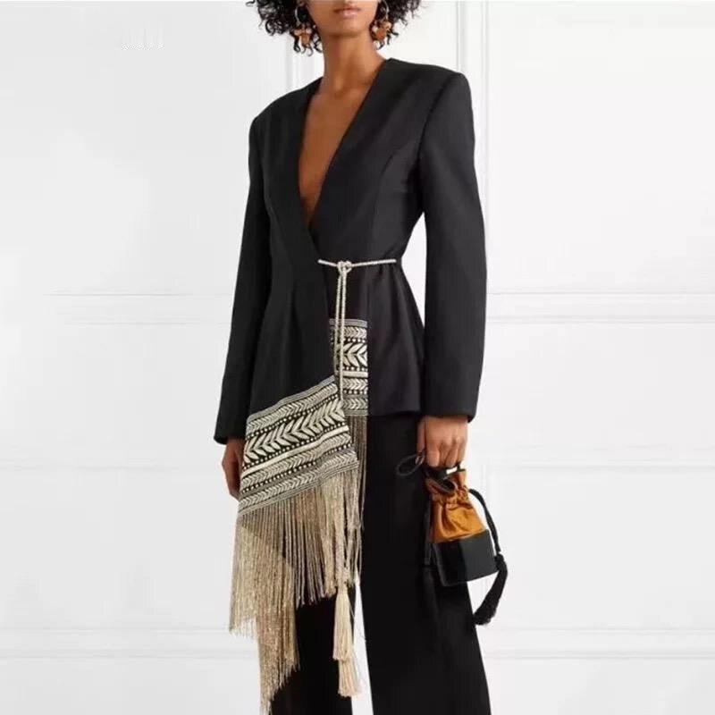 معطف نسائي غير منتظم مع شرابات ، تصميم بوهيمي ، ريترو ، برباط ، عصري ، مجموعة ربيع/صيف 2021