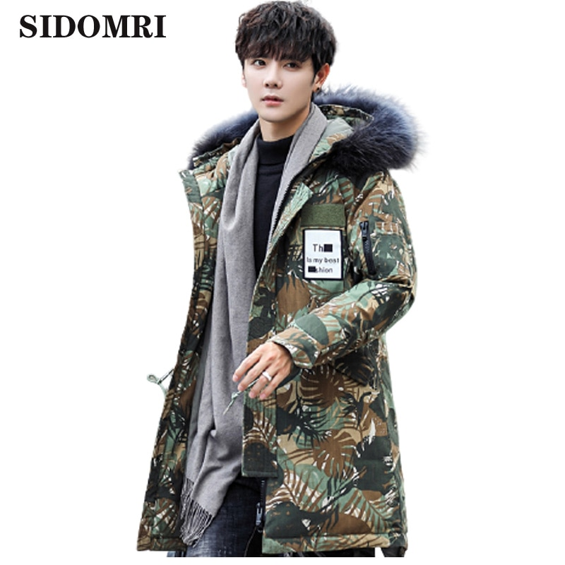 Winter mens jacket medium and long style camouflage color  extra-thick white duck down jacket warm coats