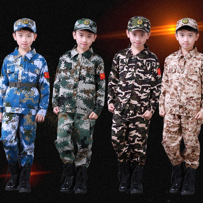 4Pcs Kids Military Uniform Army Suit Camouflage Tactical Special Forces Training Clothing Scouting Soldier Performance Costumes
