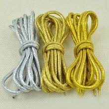 1 paar Mode Gold Silber Seide Glitter Reflektierende Schnürsenkel Für Turnschuhe Casual Runde Perle Weiß Farbige Schuh Saiten Cordones