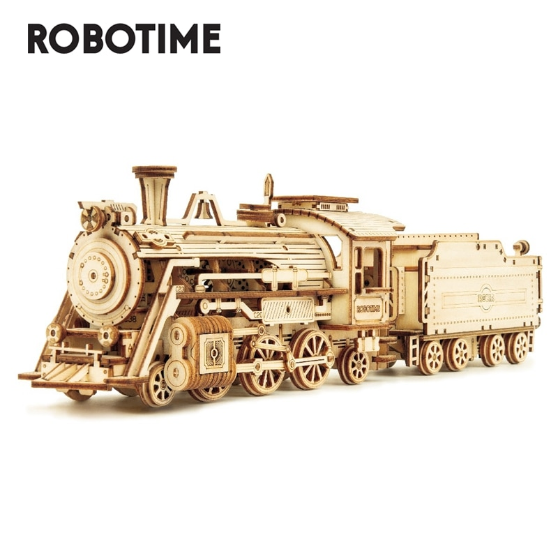 Robotime Rokr DIY 308pcs Laser Cutting Movable Steam Train Wooden Model Building Kits Assembly Toy Gift for Children  MC501