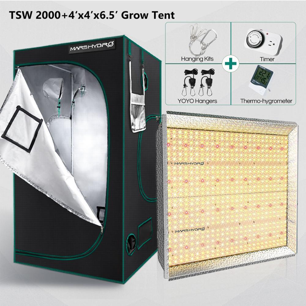 Mars Hydro TSW 2000W And 120x120cm Grow Tent LED Grow Light Indoor Plants Veg Flower Replace HPS/HID Hydroponics Full Spectrum