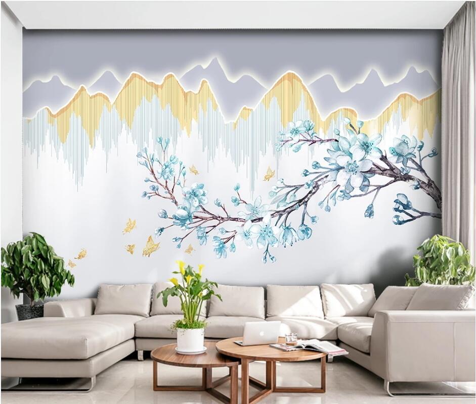 Обои AINYOOUSEM с изображением современных цветов и птиц, 3D фоновые обои, бумажные обои, 3d обои, Настенные обои