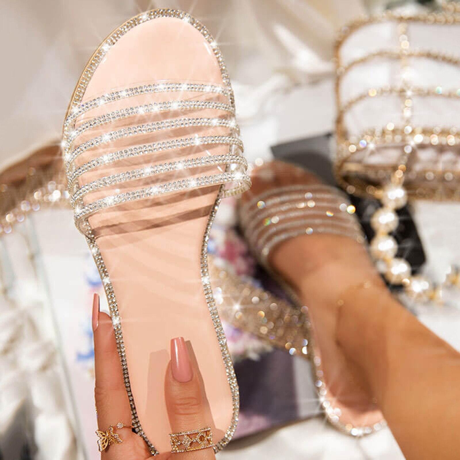 Sandalias con purpurina párr mujer de zapatos planos de cristal a la...