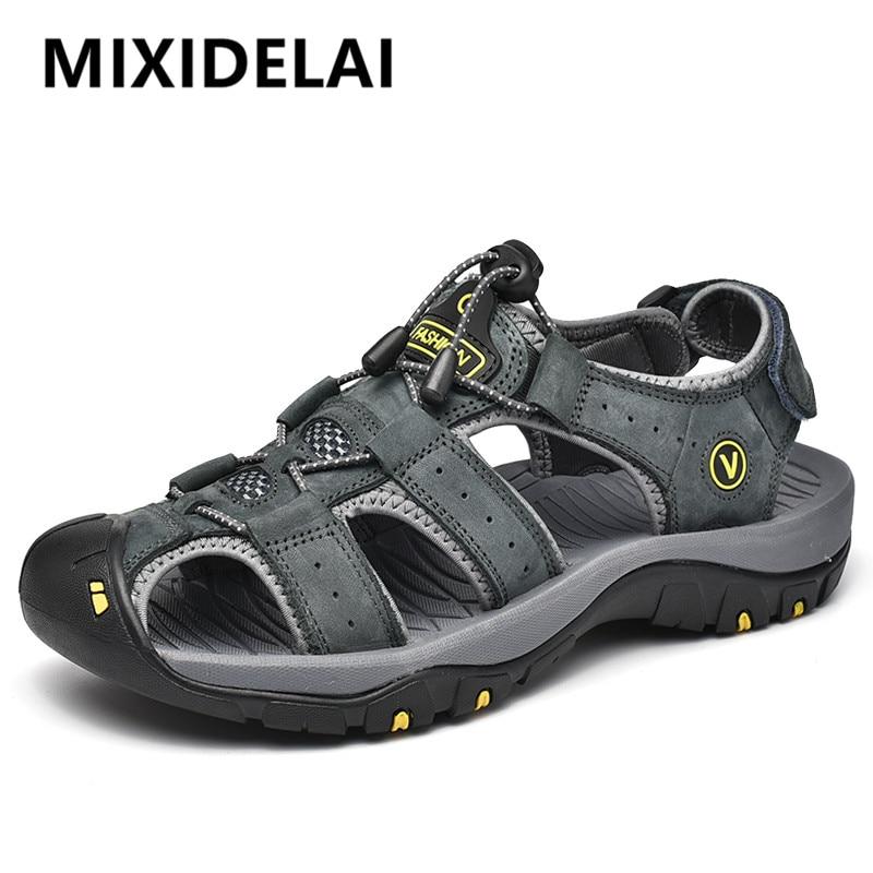 MIXIDELAI-صندل جلد أصلي للرجال ، أحذية صيفية ، مقاس كبير ، عصري ، شبشب ، مقاس كبير 38-47