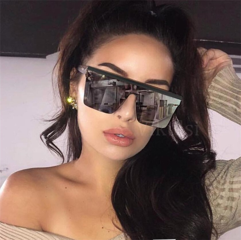 2020 Luxury Brand Oversized Square Sunglasses Women Fashion Flat Top Frame Red Black Clear Lens Mens