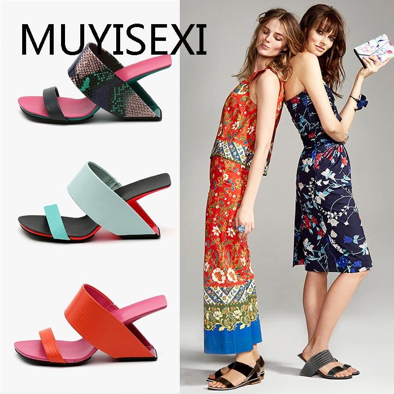 Slide sandália estranha chinelos de salto alto das mulheres verão gladiador cunha sandalias mujer 5 cor hl146 muyisexi