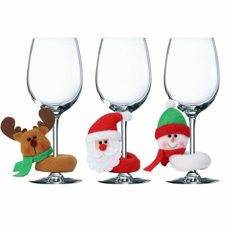 1pc Christmas Wine Glass Covers New Santa Claus Elk Snowmen Pattern Markers Charm Fabric Xmas Festive Wine Glass Tags Decoration