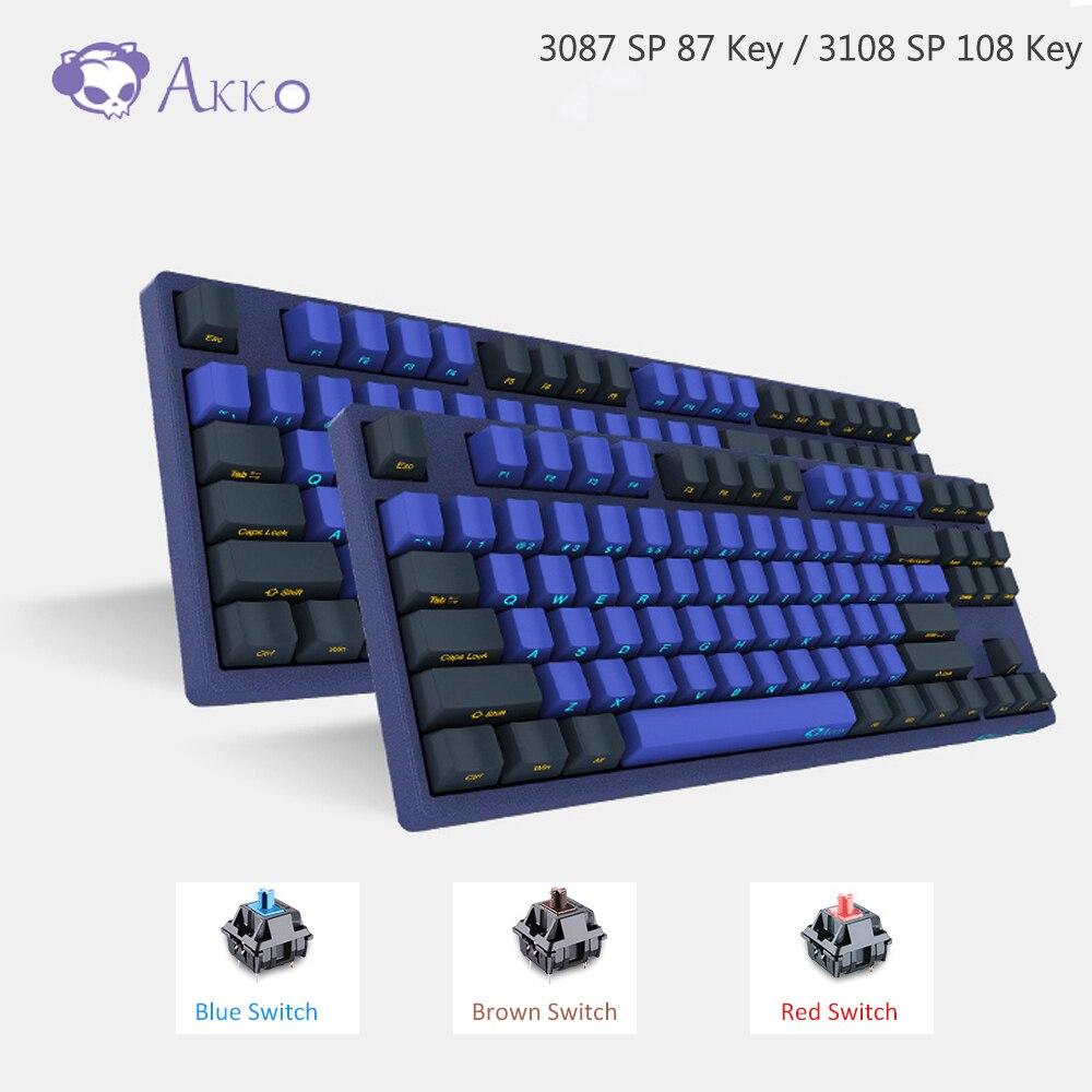 AKKO 3087/3108 SP Horizon Skyline Cherry MX interruptor para juegos Teclado mecánico 87/108 llave 85% PBT TYPE-C USB letra lateral creativa