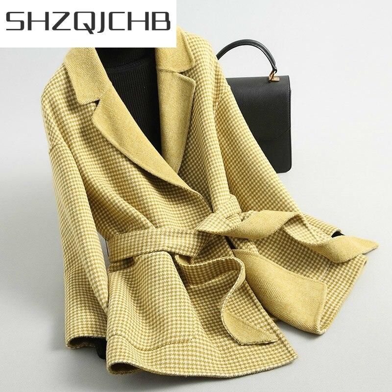 JCHB-Abrigo nuevo de Lana para Mujer, chaqueta de cuadros de alpacas, moda...