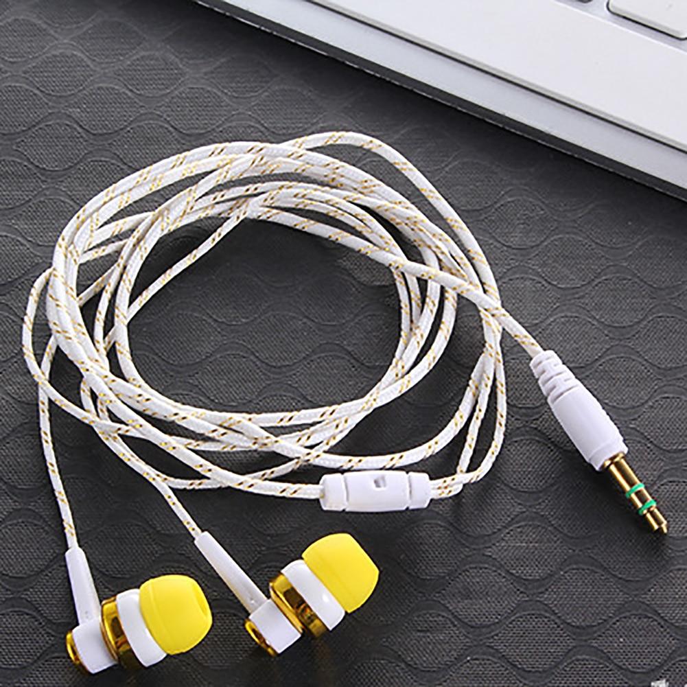 Nuevo estéreo en el oído 3,5mm Nylon tejido Cable auricular con micrófono para Smartphone Laptop