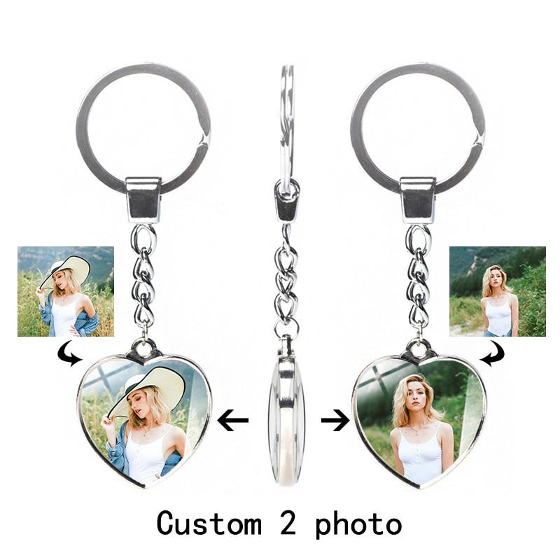 Брелок на заказ с персонализированной фотографией, двухсторонний брелок в форме сердца, женский автомобиль, семейная пара, подарок, Модная ...