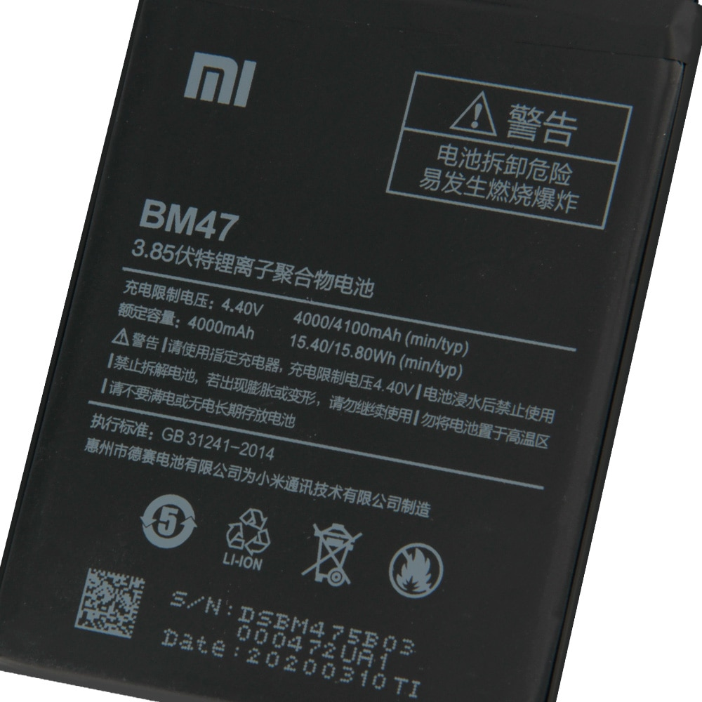 Original Replacement Battery BM47 For Xiaomi Redmi 3 3S 3X Redmi3 Pro Hongmi 4X Note 4X Redrice 3x Authentic Battery 4000mAh enlarge