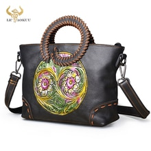Emboss Flower Original Leather Famous Brand Luxury Ladies Retro Shopping handbag Shoulder bag Women