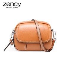 Zency Anti-vol couverture femmes sac de messager 100% en cuir véritable forme ronde mode dame sacs à bandoulière de haute qualité noir marron