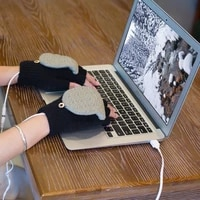electric usb heating gloves heating hand warmers hand laptop half fingerless knitted winter warm mittens indoor office