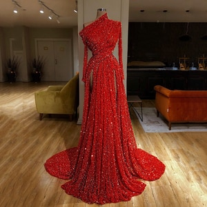 Sparkly Red Sequins Evening Dresses 2020 Long Sleeves Ruched High Split Formal Party Floor Length Prom Dresses