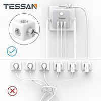 TESSAN Европейская Сетевая розетка Мощность пропилен-каучука прокладки с 3 Порты USB + 3 розетки защита от перегрузки 6-в-1 розетка переключатель в...