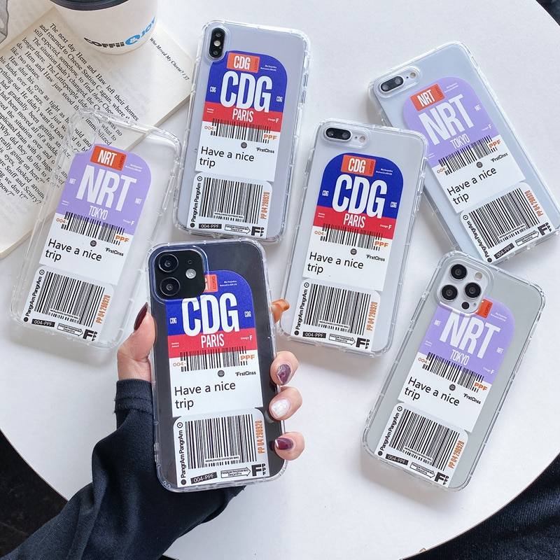 Funda bonita con mapa de viajes para iPhone, funda con el código...