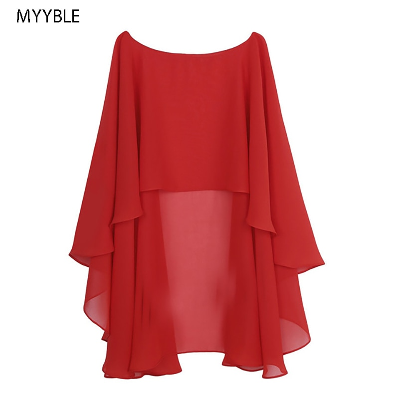 Womens Ladies Soft Wedding Capes Wedding Jacket Wraps Chiffon Shrug Bridal Bolero Long Shawl and Wraps Evening Wedding Cover Up