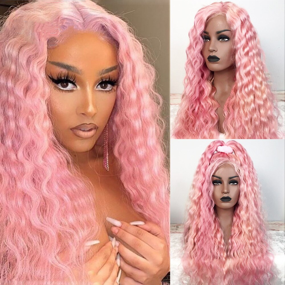 Pink Wave Curly Brazilian Wavy Human Hair Lace Front Wig Long Deep Curly Wigs For Women 180 Density