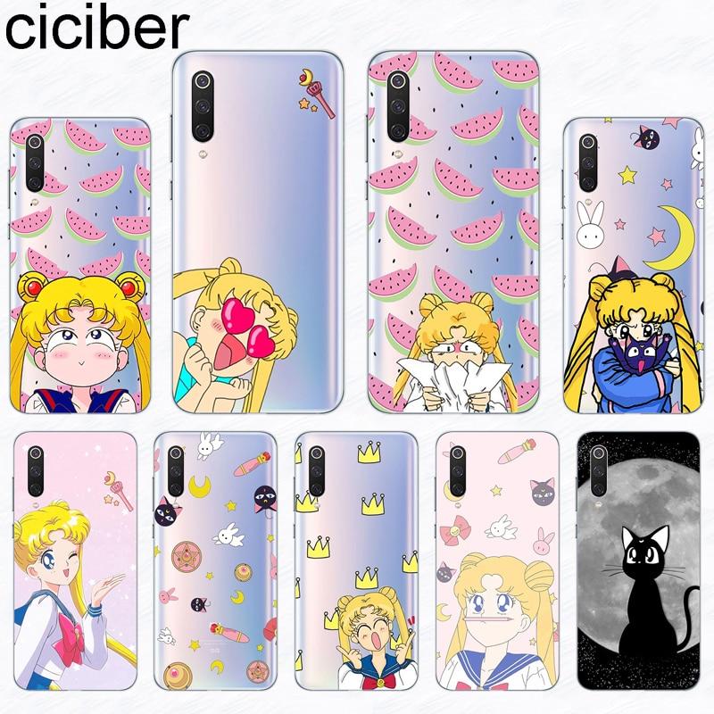ciciber For Xiaomi 9 A2 9T A1 A3 8 6X 6 5 5X 5S PocoPhone F1 MIX MAX 3 2 2S Plus Pro Lite SE Explorer Silicone Case Sailor Moon