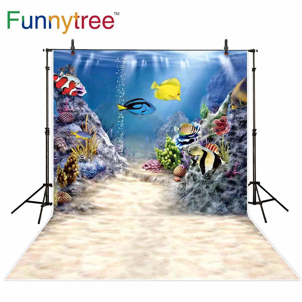Фото - Funnytree Фон фотографии летний «Подводное царство» вечерние Тропические рыбы кораллового цвета для малышей Фото фон для студийного фотографи... подводное царство