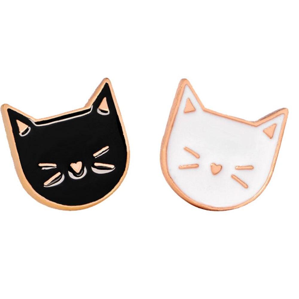 1 pc preto/branco dos desenhos animados gato bonito animal esmalte broche pino emblema jóias decorativas estilo broches para presente feminino